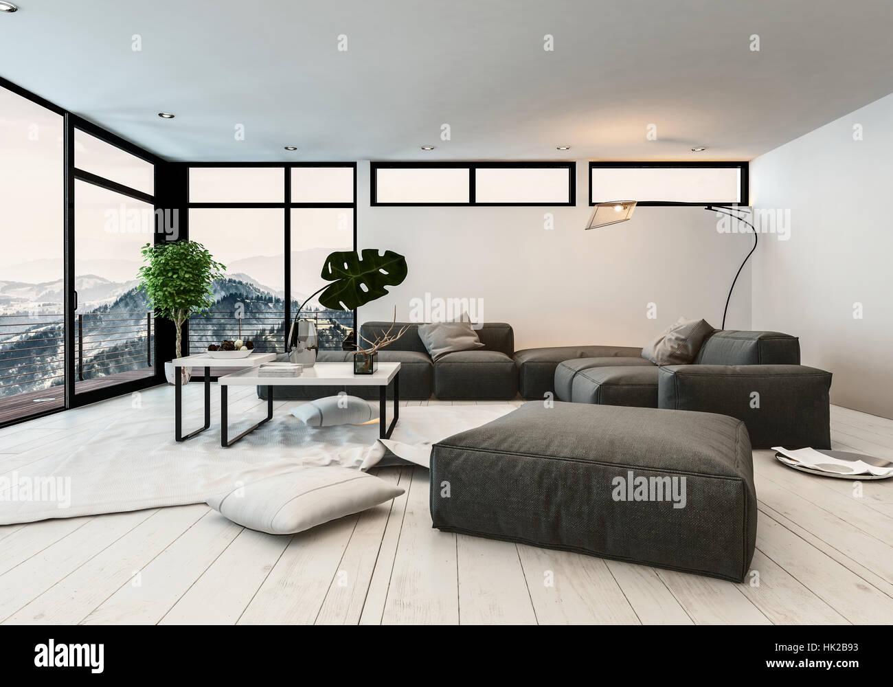Moderne Designer Wohnzimmer Interieur mit Panorama-Glas ...