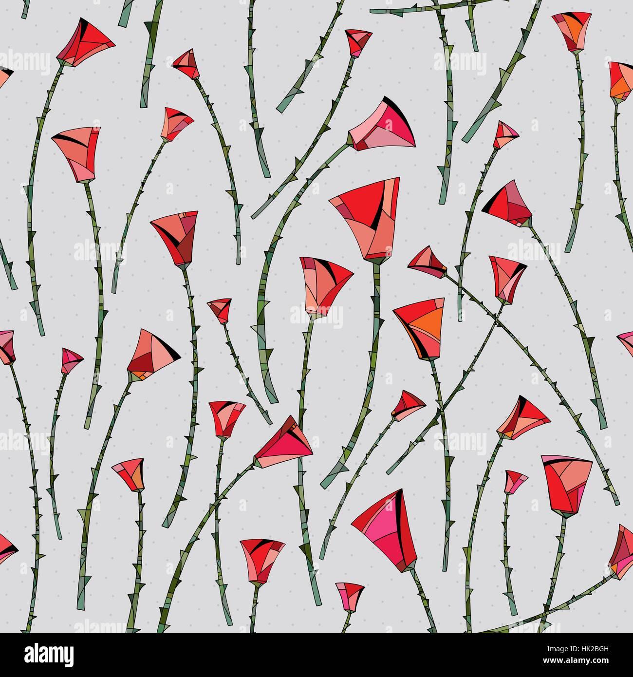 Abstrakte Rosen Muster. Floral nahtlose Hintergrund. Stilisierte ...
