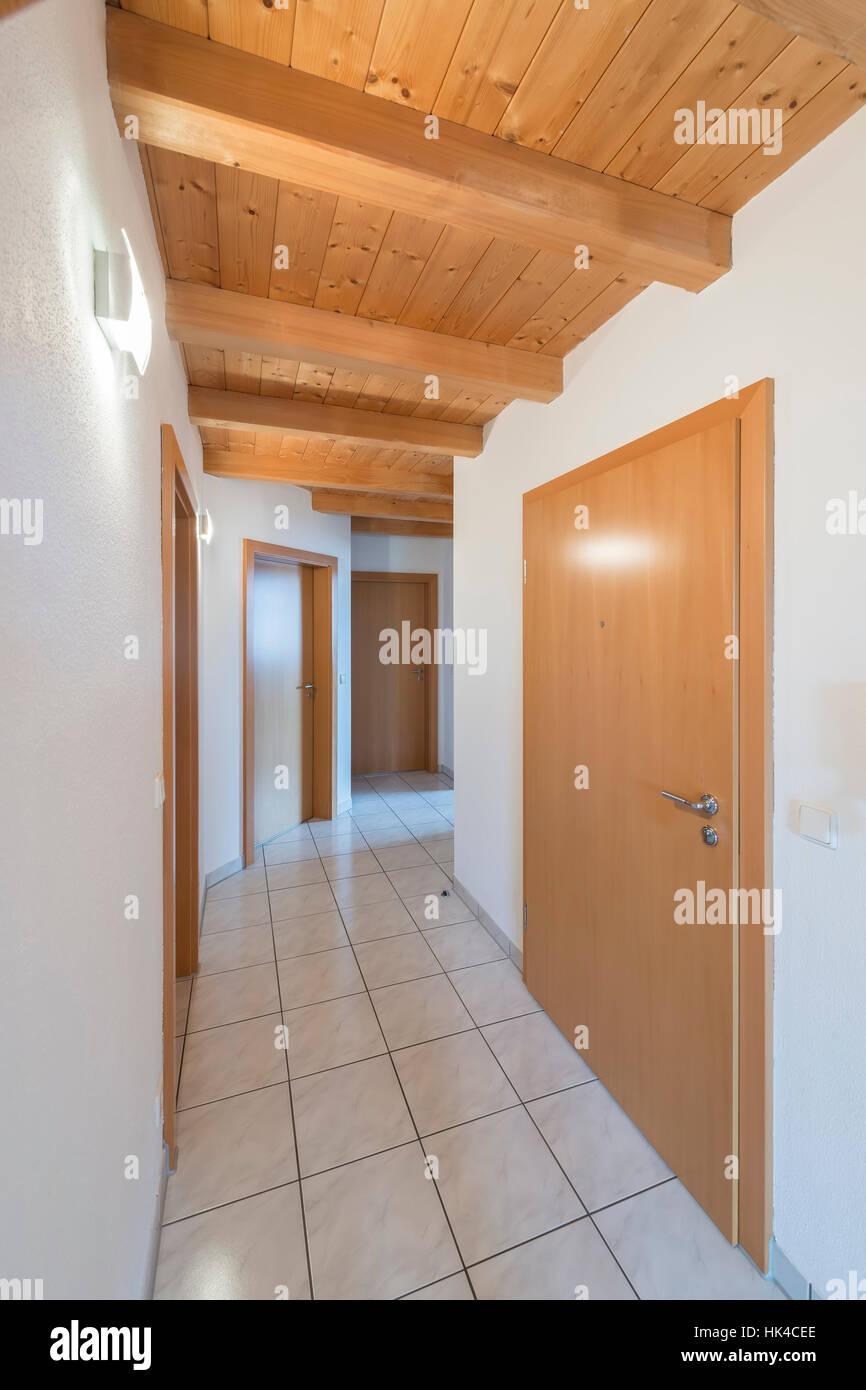 Korridor, Holz, Fliesen, Haus, Wohnung, Wohnung, zu Hause, Decke ...