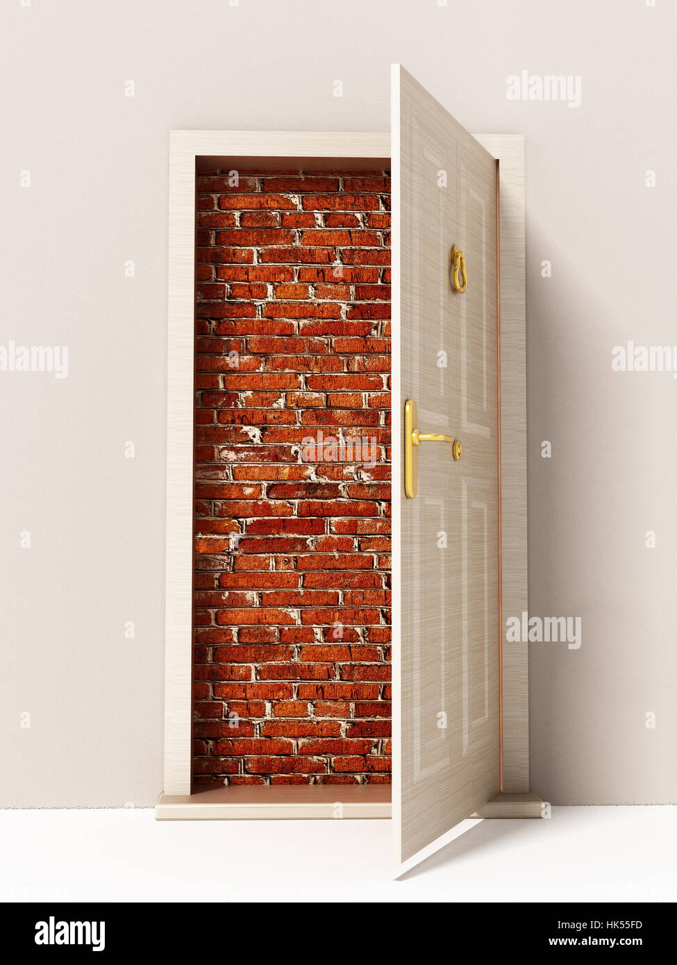 Offenen Tür zur Mauer. 3D Illustration. Stockfoto