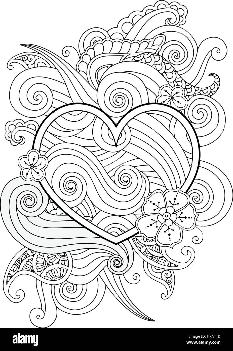 Malvorlagen mit Herz und abstrakte Element isoliert. Happy ...