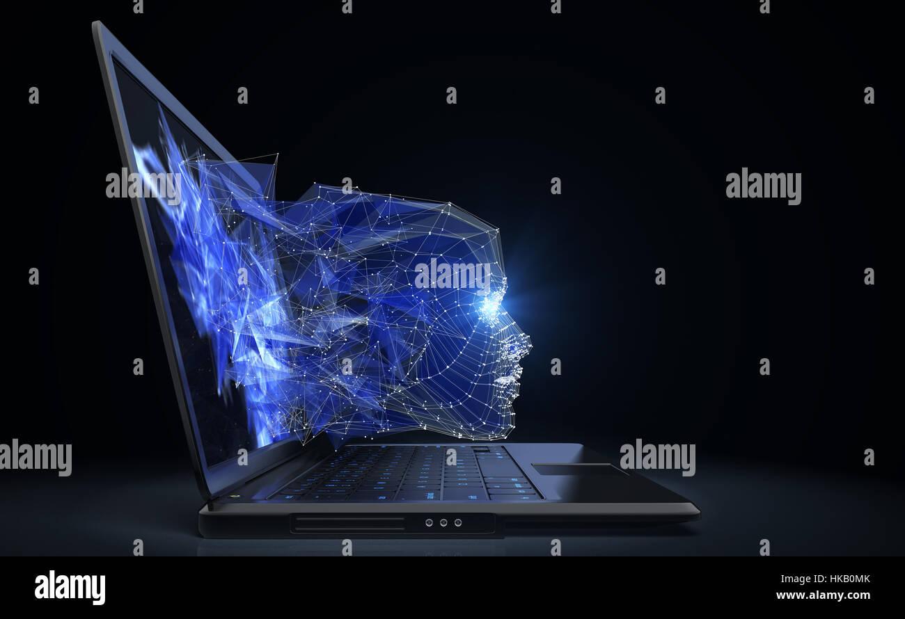Neuron-Netzwerk-Konzept. 3D illustration Stockbild