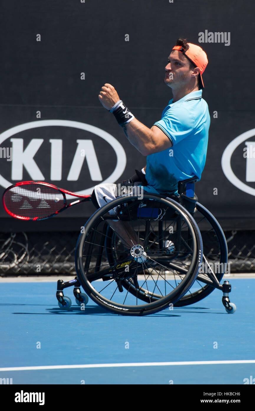 Melbourne, Australien. 28. Januar 2017. Gustavo Fernandez von Argentinien reagiert während der Männer Rollstuhl Stockfoto