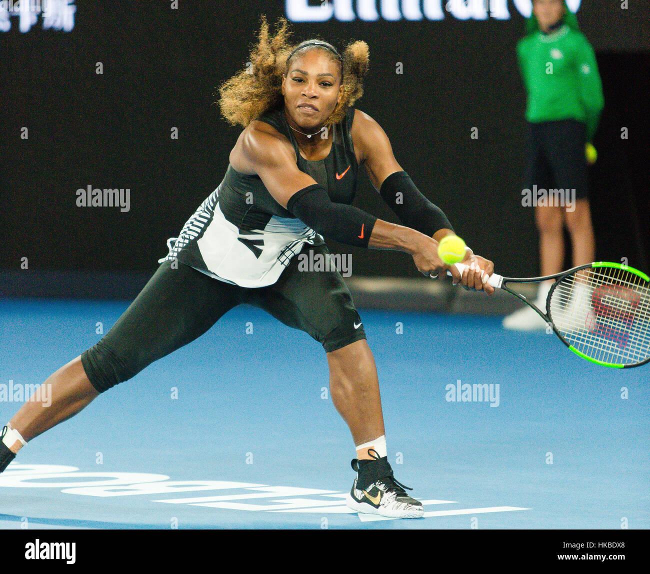 Melbourne, Australien. 28. Januar 2017. Serena Williams aus den USA während der 2017 Australian Open Damen Finale Stockfoto