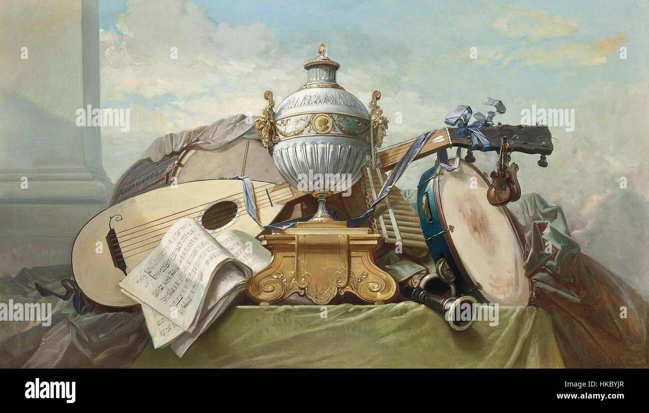 Godefroy laute und anderen Instrumenten 1862 Stockbild