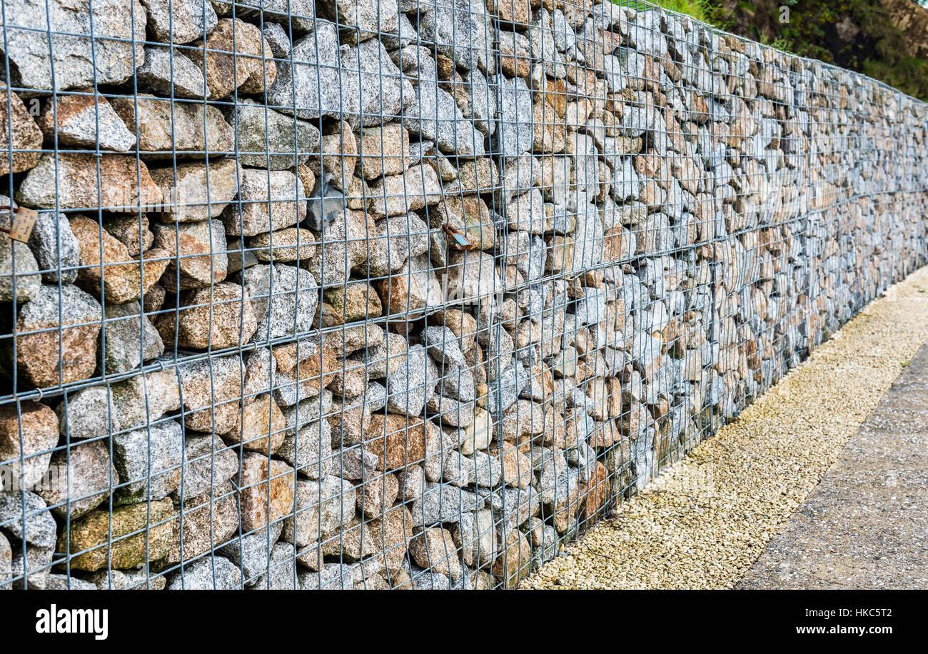 Gabion Rock Drahtzaun Metall Kafig Mit Steinen Gefullt Textur Im
