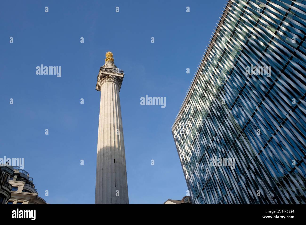 Das Denkmal für den großen Brand von London, Fisch St Hill, London, UK. Stockbild