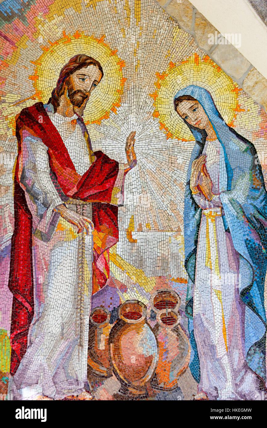Mosaik Von Der Hochzeit Von Kana In Galilaa Wo Jesus Christus Sein