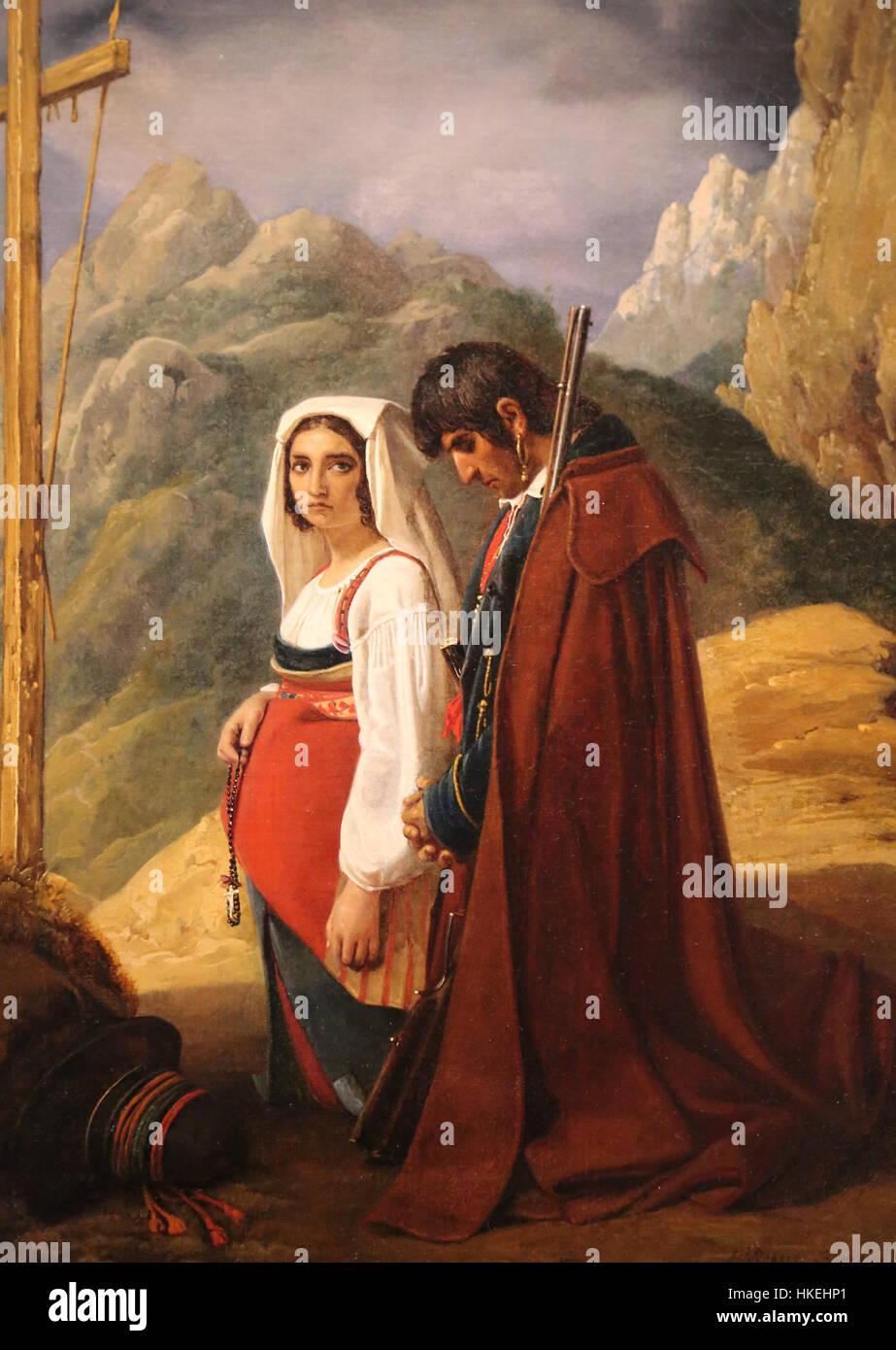 Räuber und seine Frau im Gebet, 1824. Öl auf Leinwand, von Leopold Robert (1794-1835). Metropolitan Museum Stockbild