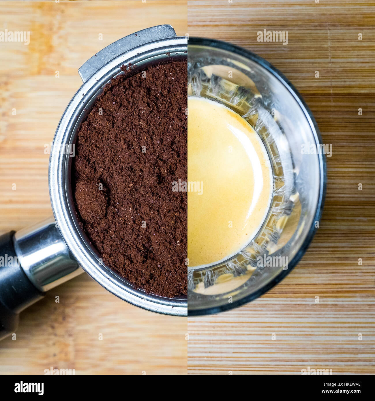 Split Bild Der Gruppenleiter Mit Kaffee Und Espresso Im Glas Auf