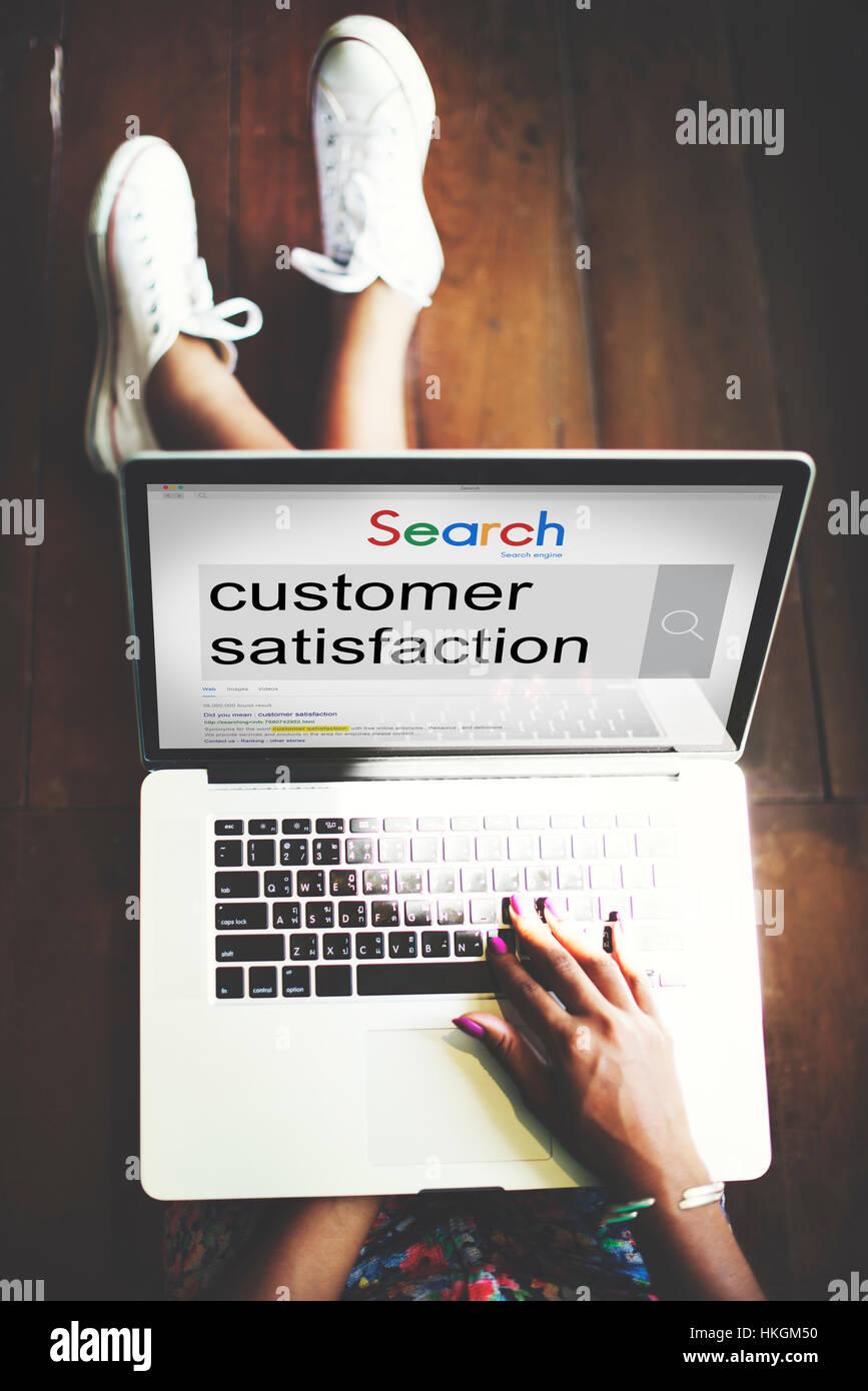 Die Zufriedenheit der Kunden Dienstleistungen zufrieden Konzept Stockbild
