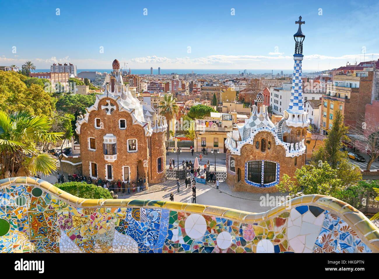 Park Güell von Antoni Gaudi, Barcelona, Spanien Stockbild