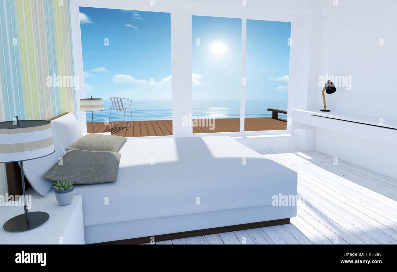 https://c8.alamy.com/compde/hkh886/weiss-und-gemutliche-minimal-schlafzimmer-innenraum-mit-blick-auf-das-meer-im-sommer-hkh886.jpg