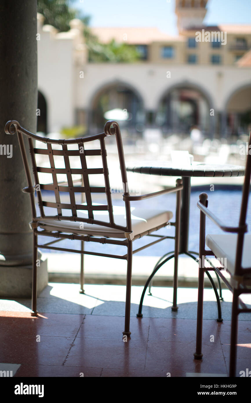 Metal Chairs And Table Stockfotos & Metal Chairs And Table Bilder ...