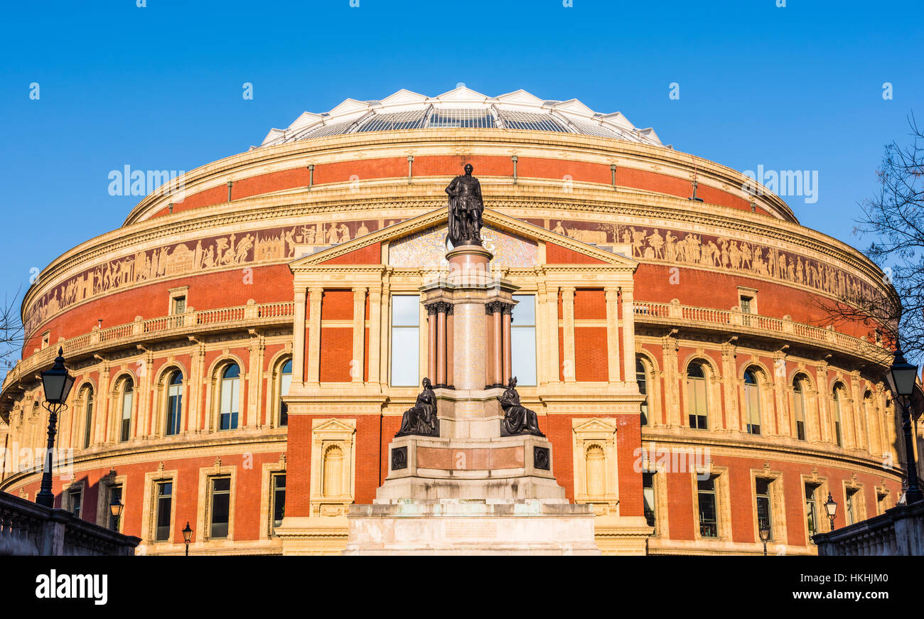 Wintersonne auf der wunderbaren Royal Albert Hall, London, UK Stockbild