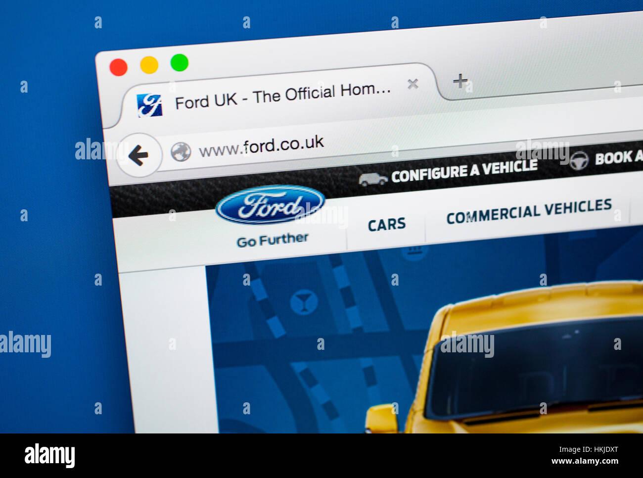 LONDON, UK - Oktober 22. Oktober 2015: die Homepage der offiziellen Website der Ford Motor Company, am 22. Oktober Stockbild