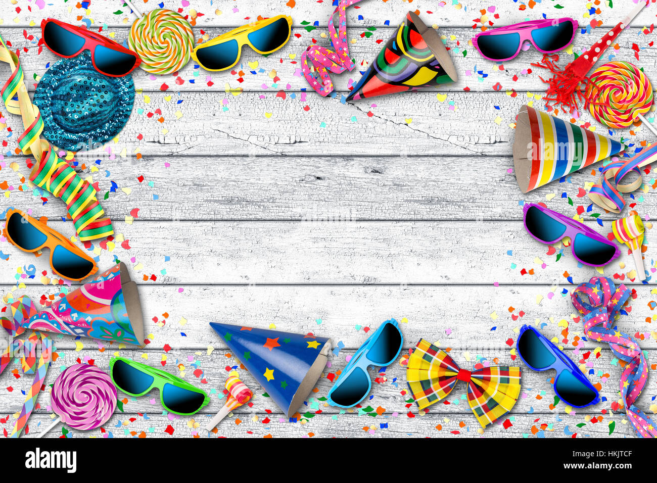 party karneval geburtstag feier hintergrund mit bunten streamer sonnenbrille konfetti hut lolly. Black Bedroom Furniture Sets. Home Design Ideas