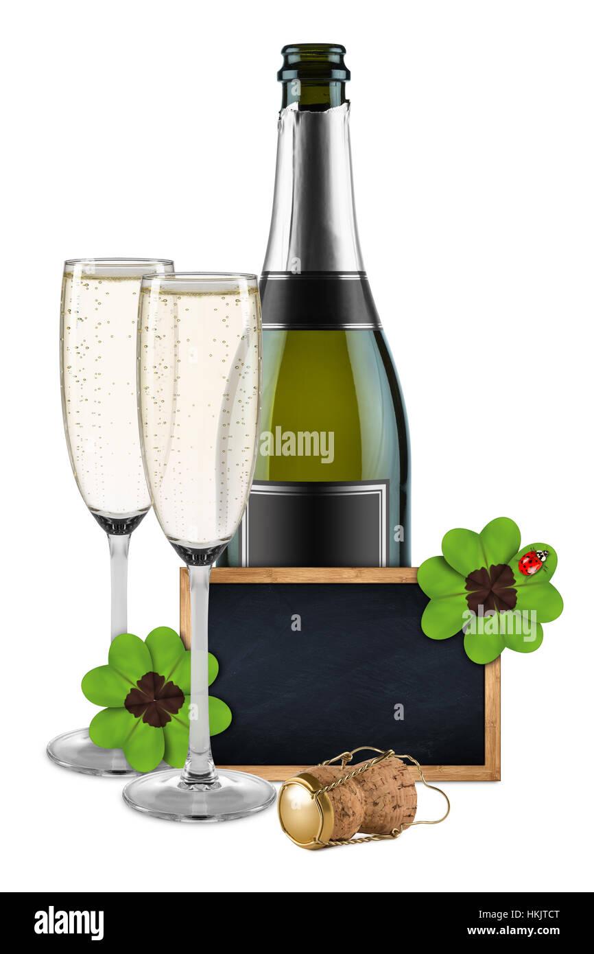 silvester flasche champagner gl ser und leeren schiefer tafel kreidetafel holzrahmen dekoriert. Black Bedroom Furniture Sets. Home Design Ideas