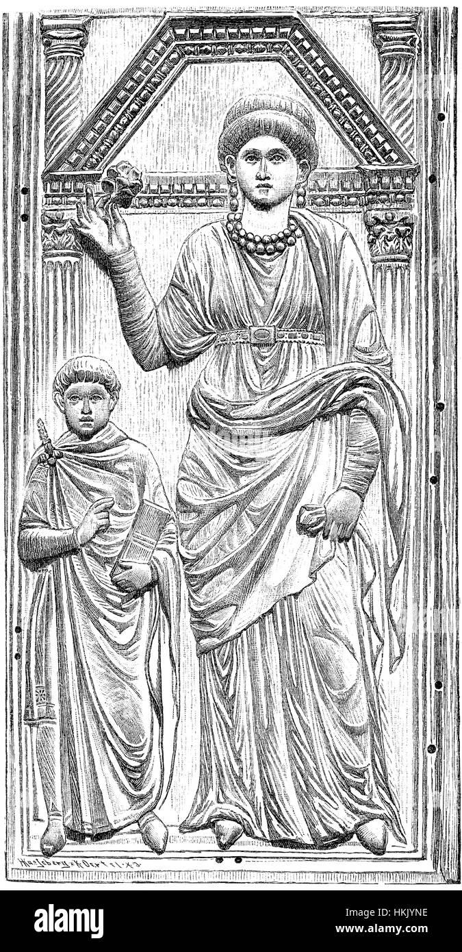 Junge Valentinian III mit seiner Mutter, Aelia Galla Galla, 388-450, Regent, Valentinian III von 423 bis 437 Stockbild