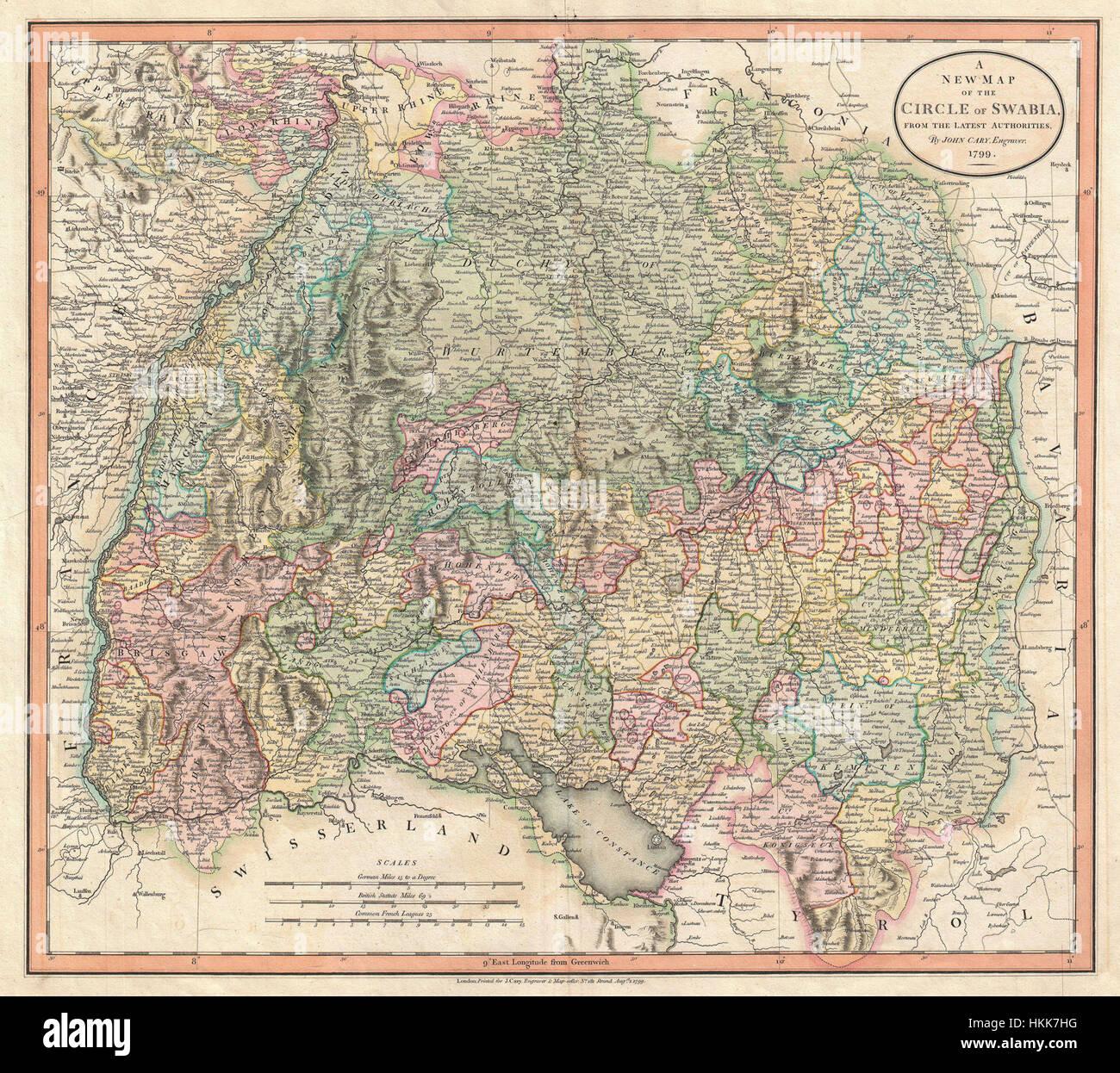 Schwaben Karte Deutschland.1799 Cary Karte Von Schwaben Deutschland Geographicus Swabia