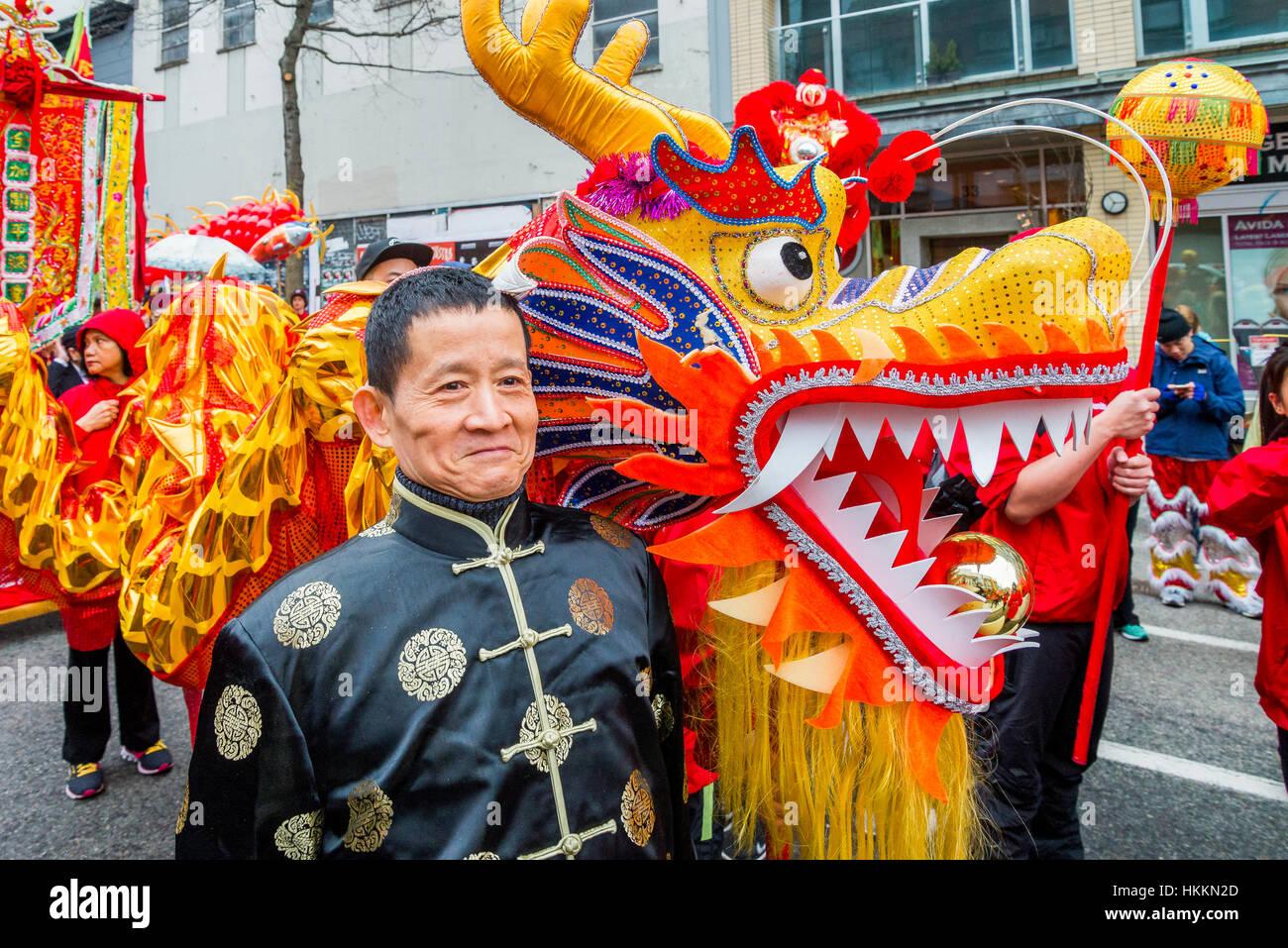 Vancouver, Kanada. 29. Januar 2017. Chinesisches Neujahr parade ...