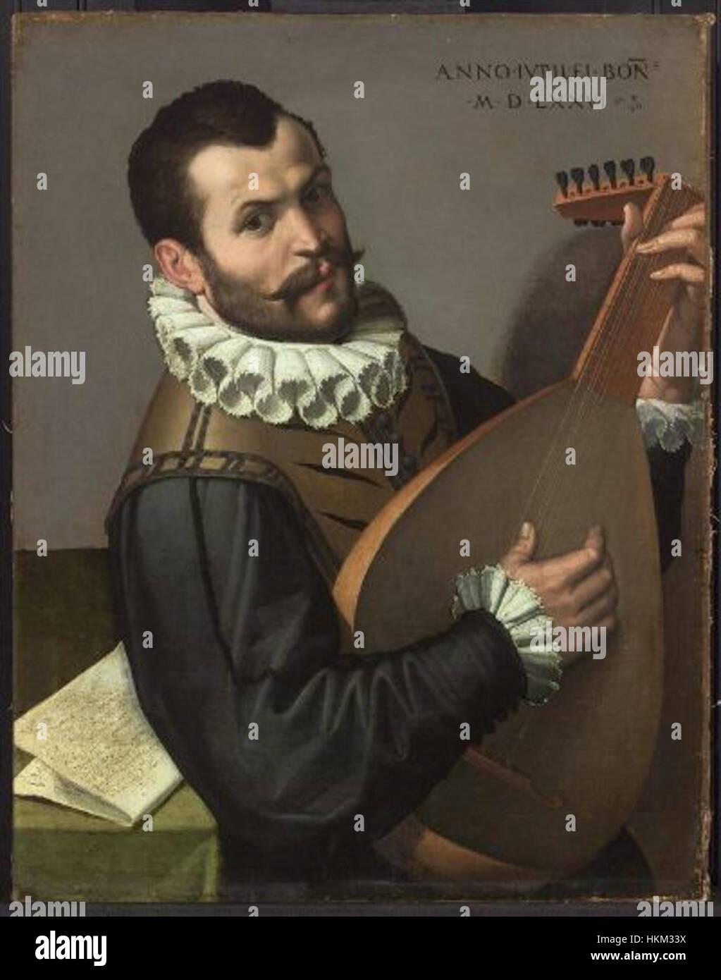 Bartolomeo Passarotti - Mann spielt eine laute Stockbild