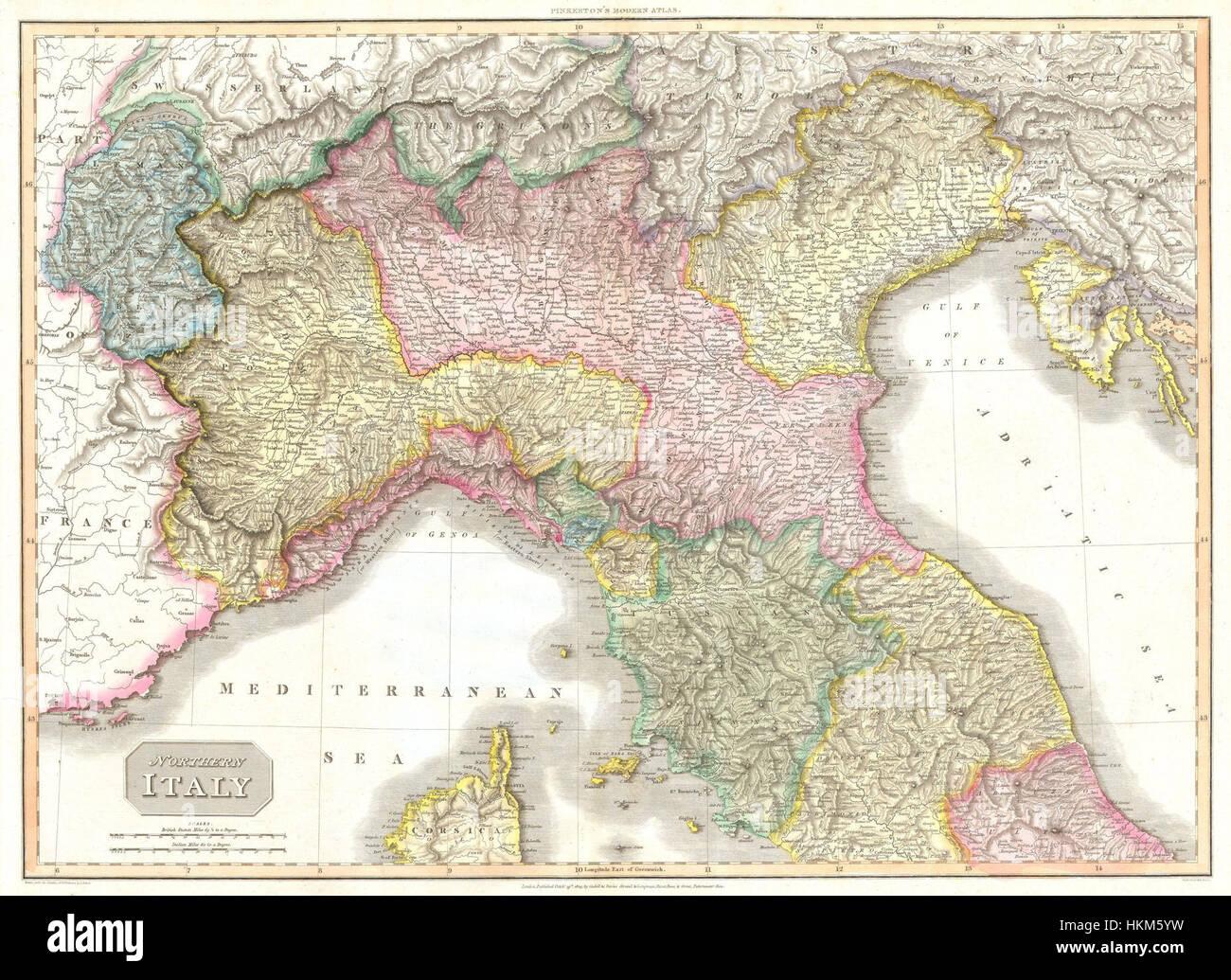 Toskana Karte Italien.1809 Pinkerton Karte Von Nord Italien Toskana Florenz Venedig
