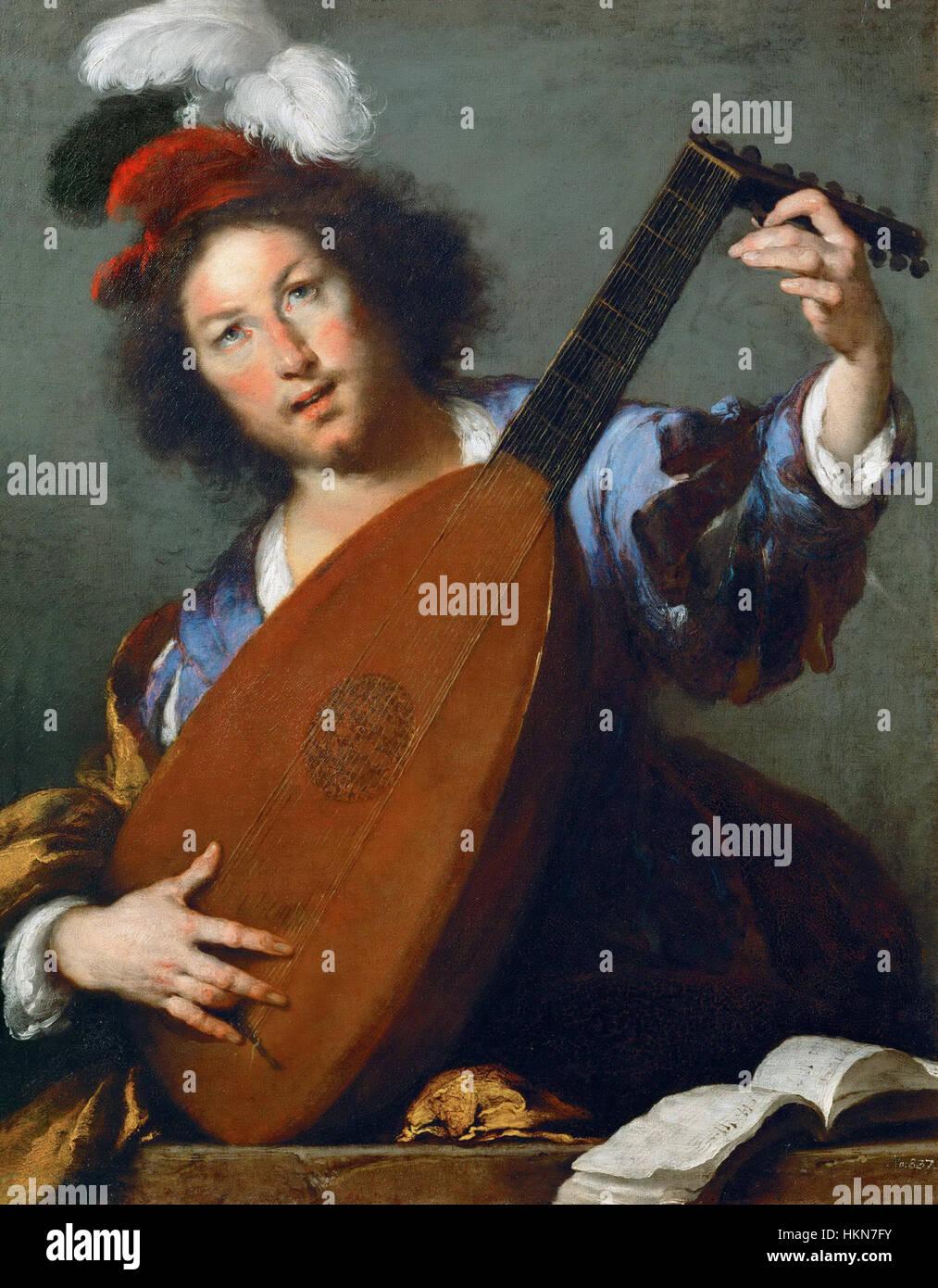 Bernardo Strozzi - Lautenspieler - WGA21926 Stockbild
