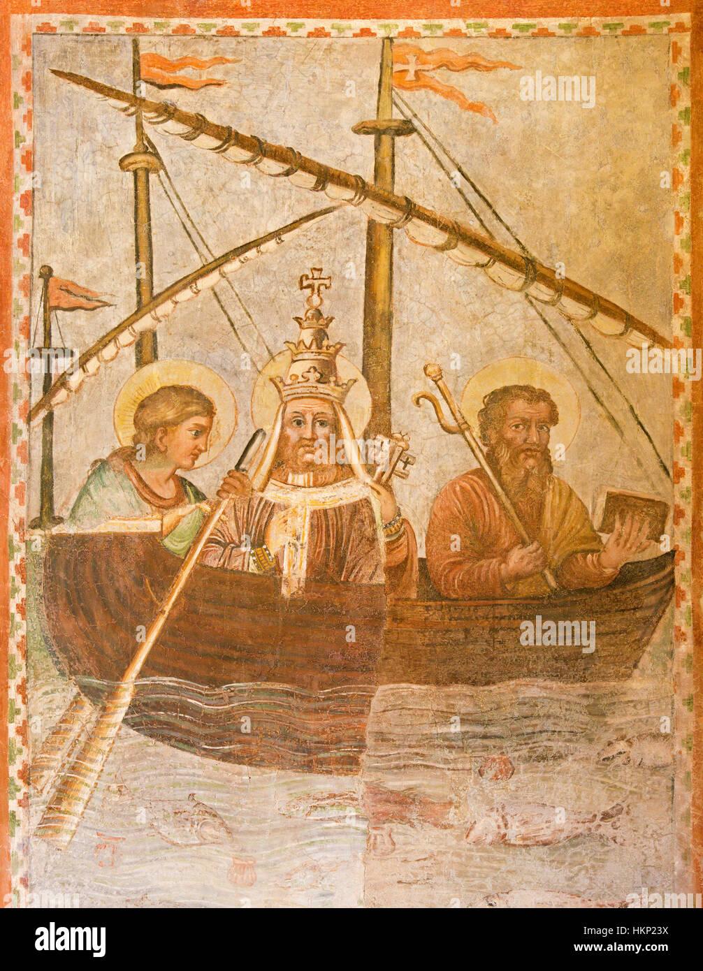 Rom, Italien - 12. März 2016: Die symbolische Fresko des Papstes auf dem Schiff der Kirche in der Kirche Basilica Stockbild