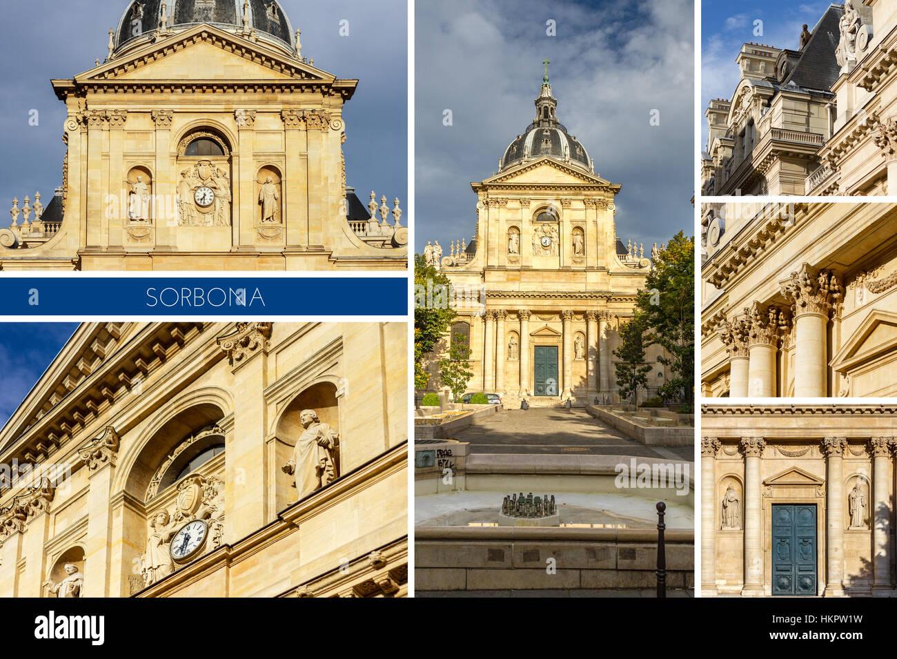 Historisches Haus von Sorbonne der ehemaligen Universität Parisis Gebäude im Quartier Latin in Paris, Stockbild