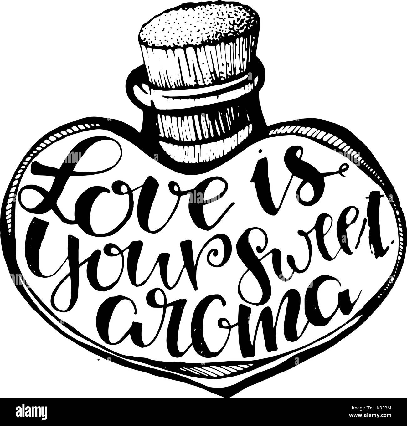Handgezeichneten diy Doodle Vektorgrafik des Herzens mit Buchstaben ...