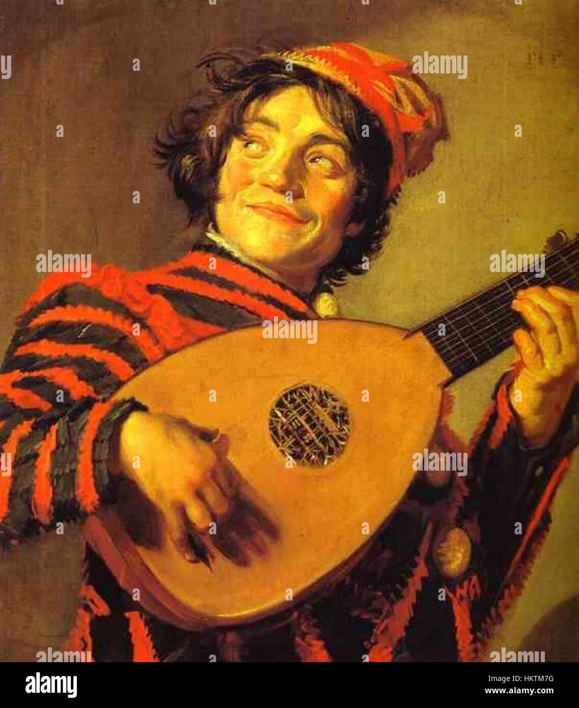 Frans Hals-Jester mit einer Laute Stockbild