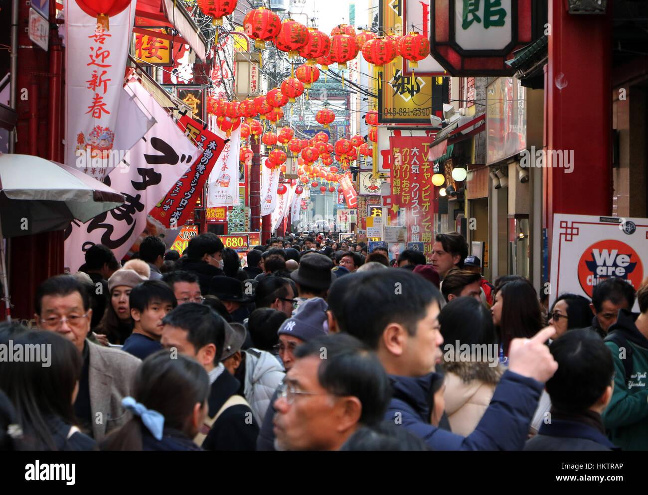 Yokohama, Japan. 29. Januar 2017. Yokohama Chinatown ist überfüllt ...