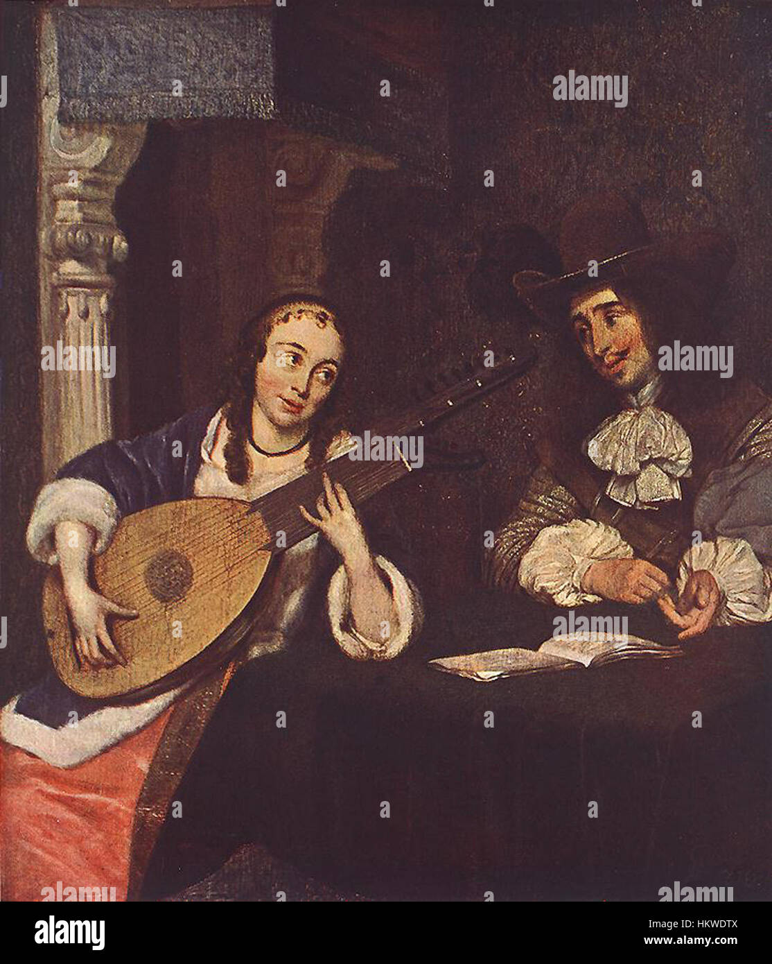 Gerard Terborch Frau spielt die laute Stockbild