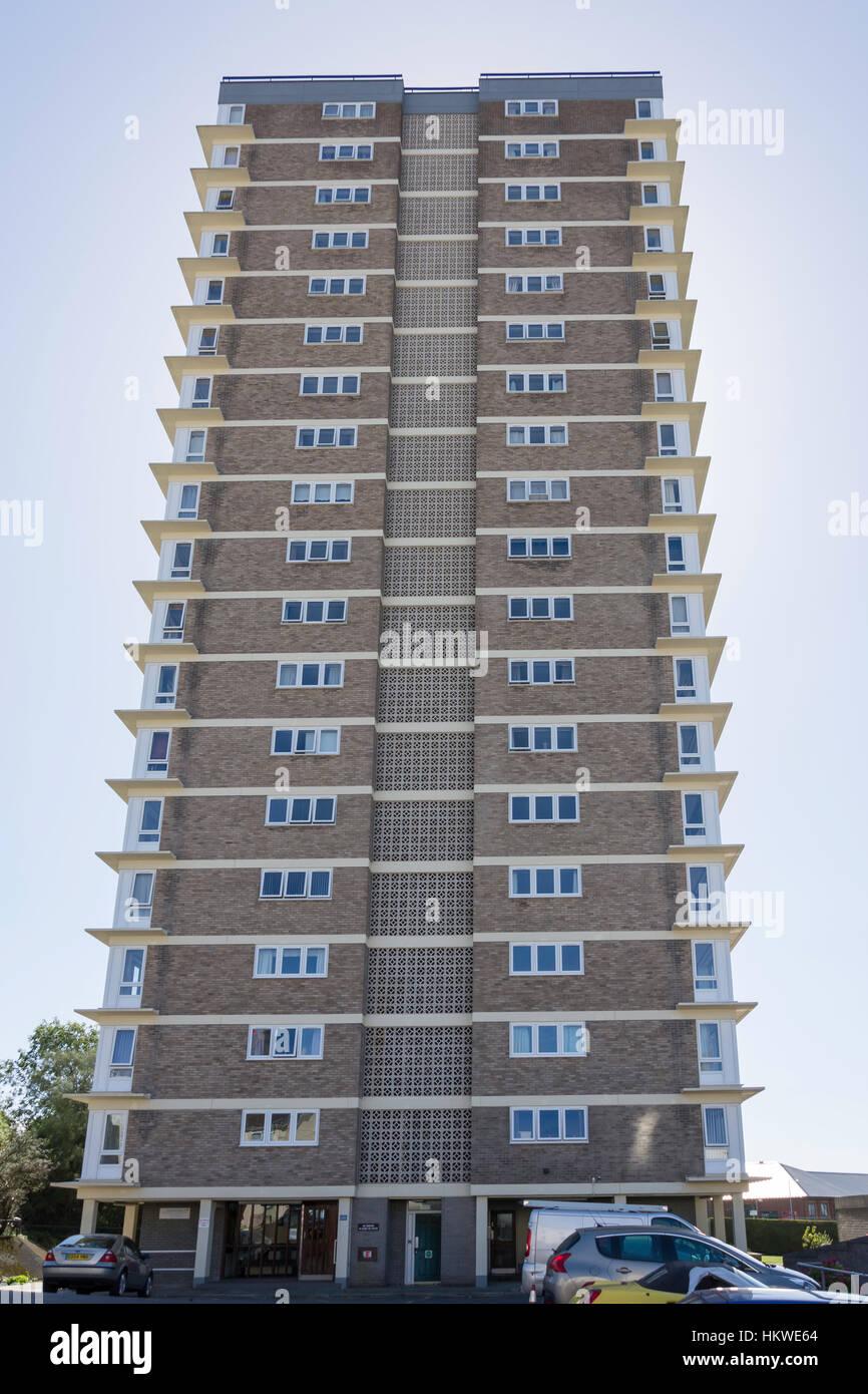 Chichester Haus Wohnung Hochhaus, Zitadelle Road, Plymouth, Devon, England, Vereinigtes Königreich Stockbild