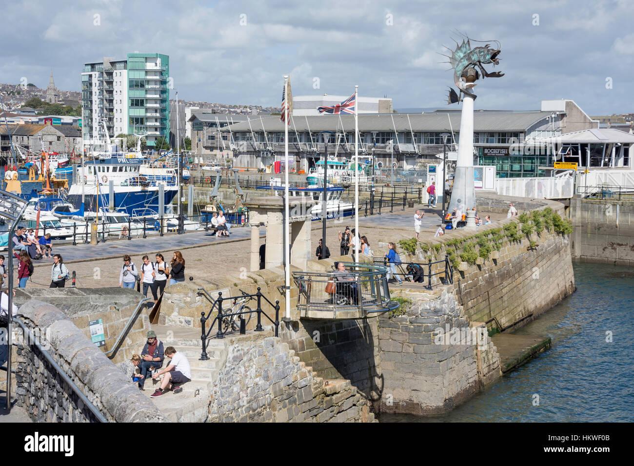 Mayflower Schritte, Barbican, Plymouth, Devon, England, Vereinigtes Königreich Stockbild