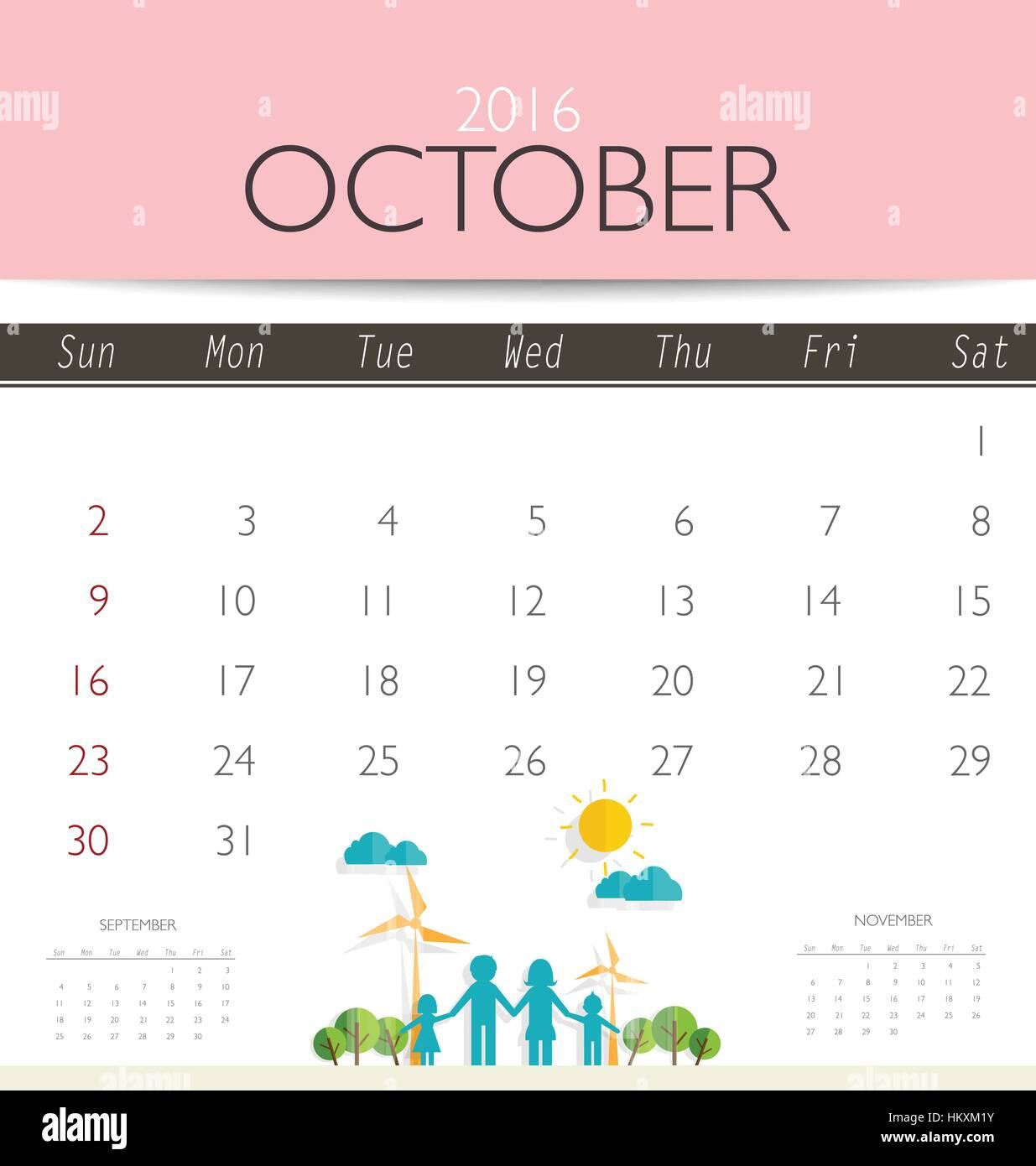 Simple Calendar October 2016 Stockfotos & Simple Calendar October ...