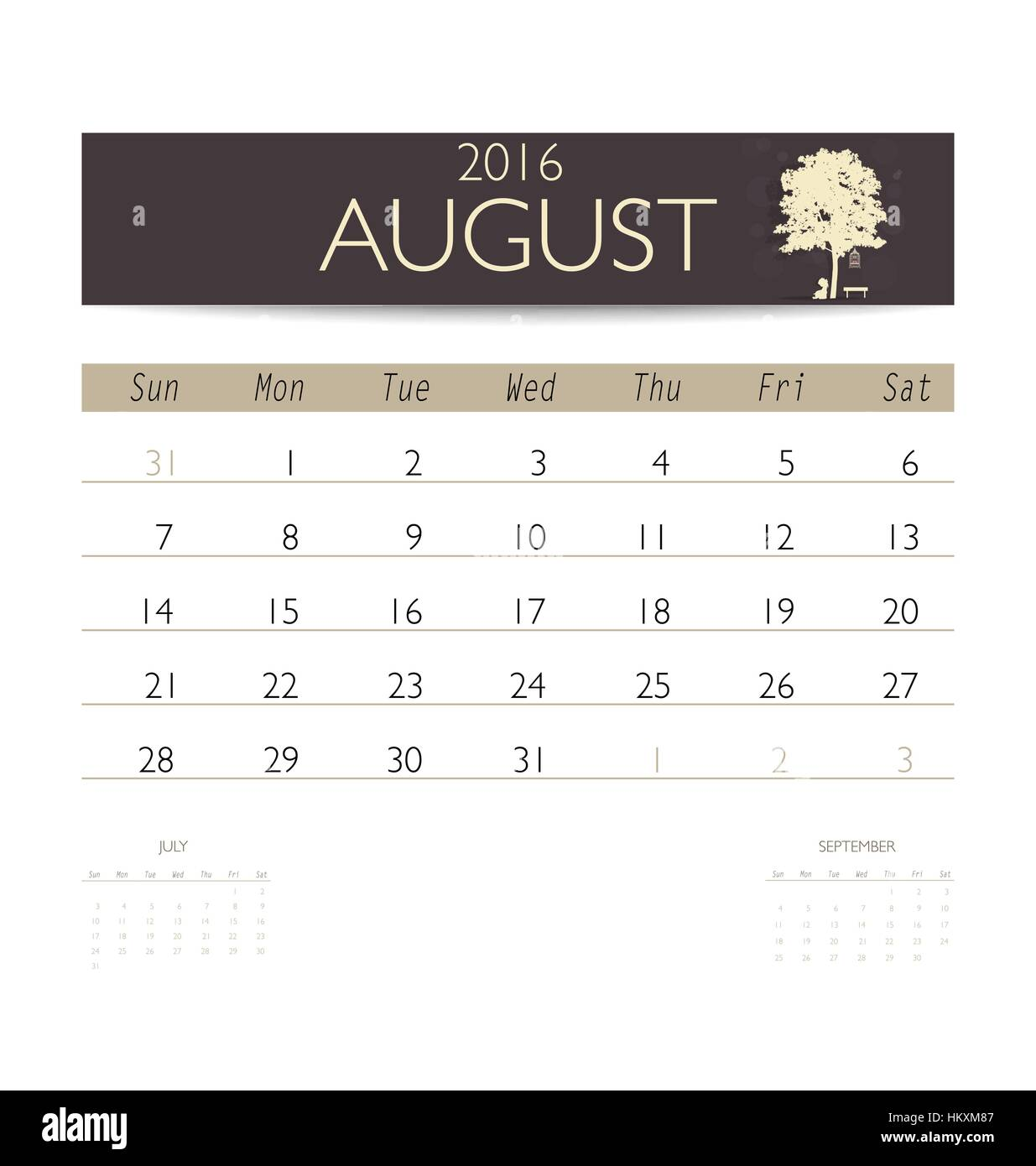 August 2016 Monthly Calendar Planner Stockfotos & August 2016 ...