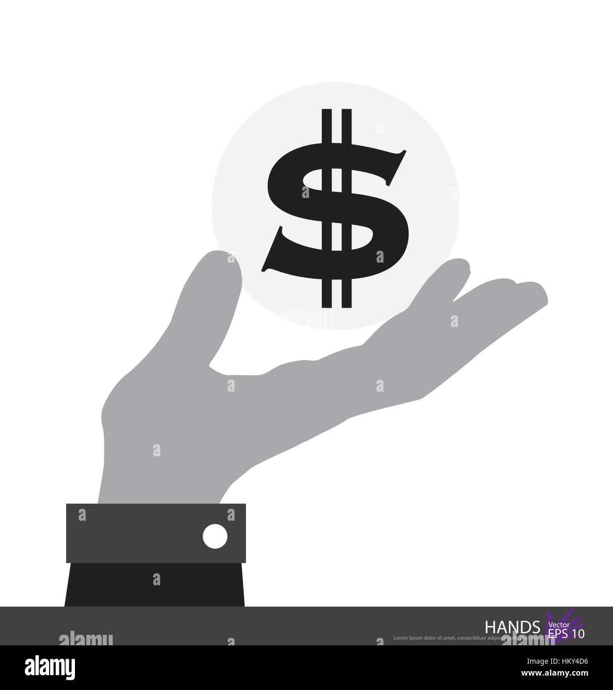 Dollarzeichen in der hand. Vektor-Illustration. Stockbild