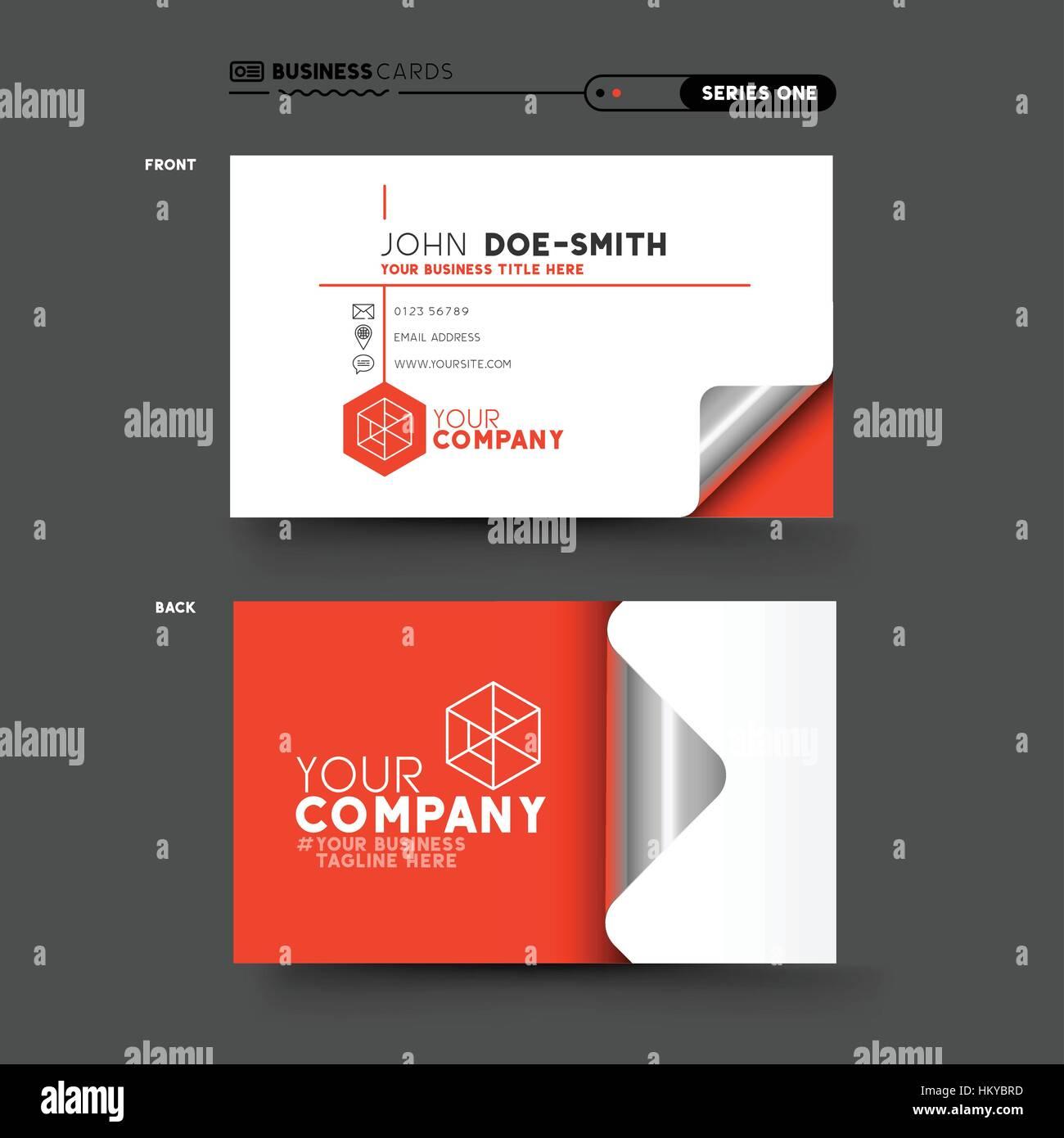 Eine Sauber Und Minimal Rot Visitenkarten Design Vektor