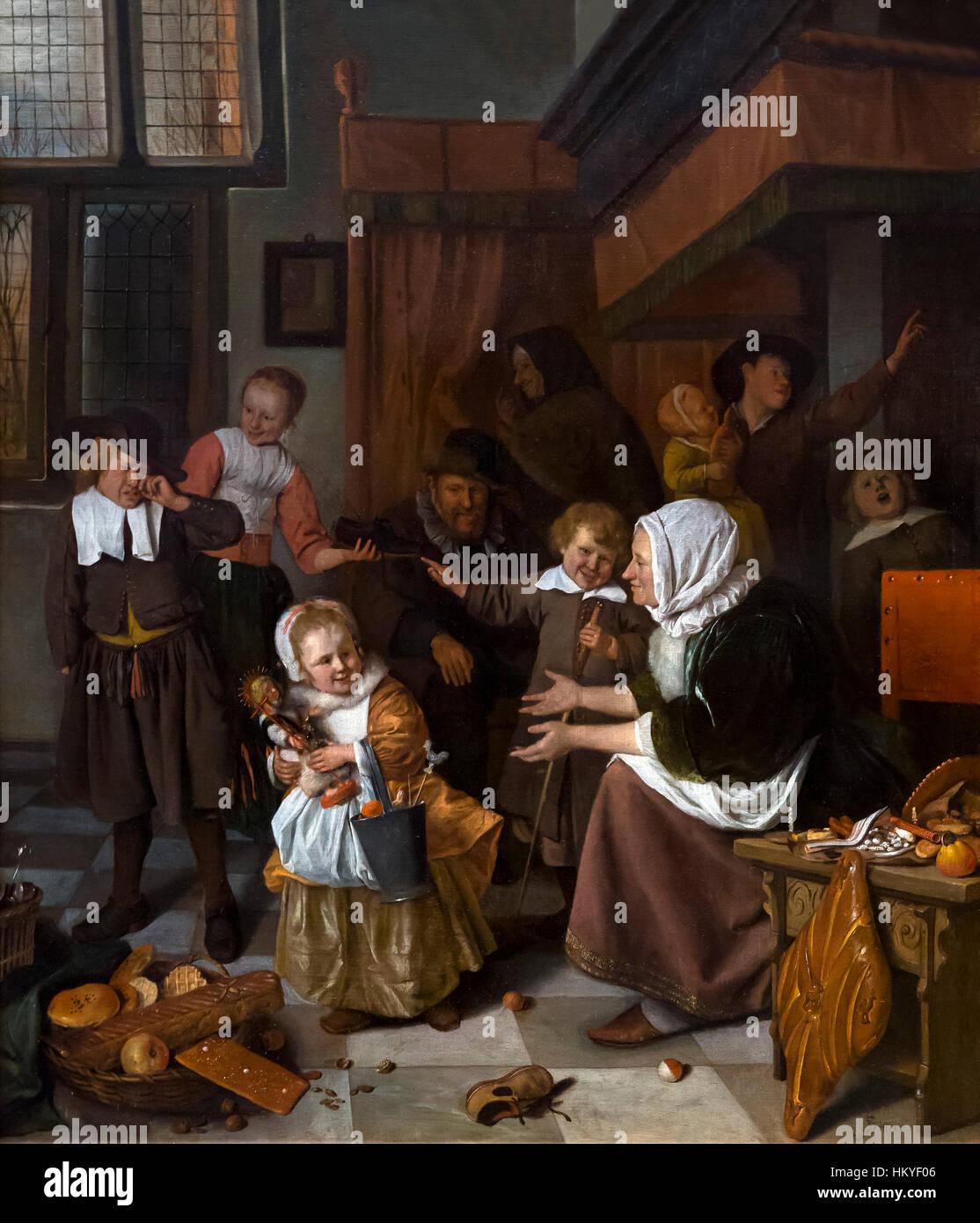 Das Fest des Hl. Nikolaus, von Jan Steen, 1665-68, Öl auf Leinwand, das Rijksmuseum, Amsterdam, Niederlande, Stockbild