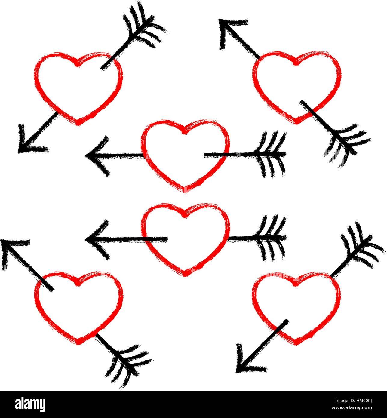 Rotes Herz durch einen schwarzen Pfeil durchbohrt. Populäres Symbol mit Textur in handgefertigten Aquarelltechnik Stockbild