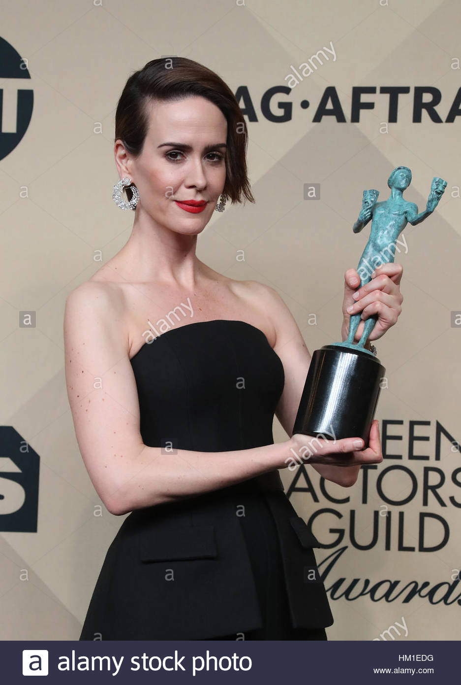 Los Angeles CA - 29. Januar Sarah Paulson, am 23. Annual Screen Actors Guild Awards - Presseraum, im Shrine Auditorium Stockfoto