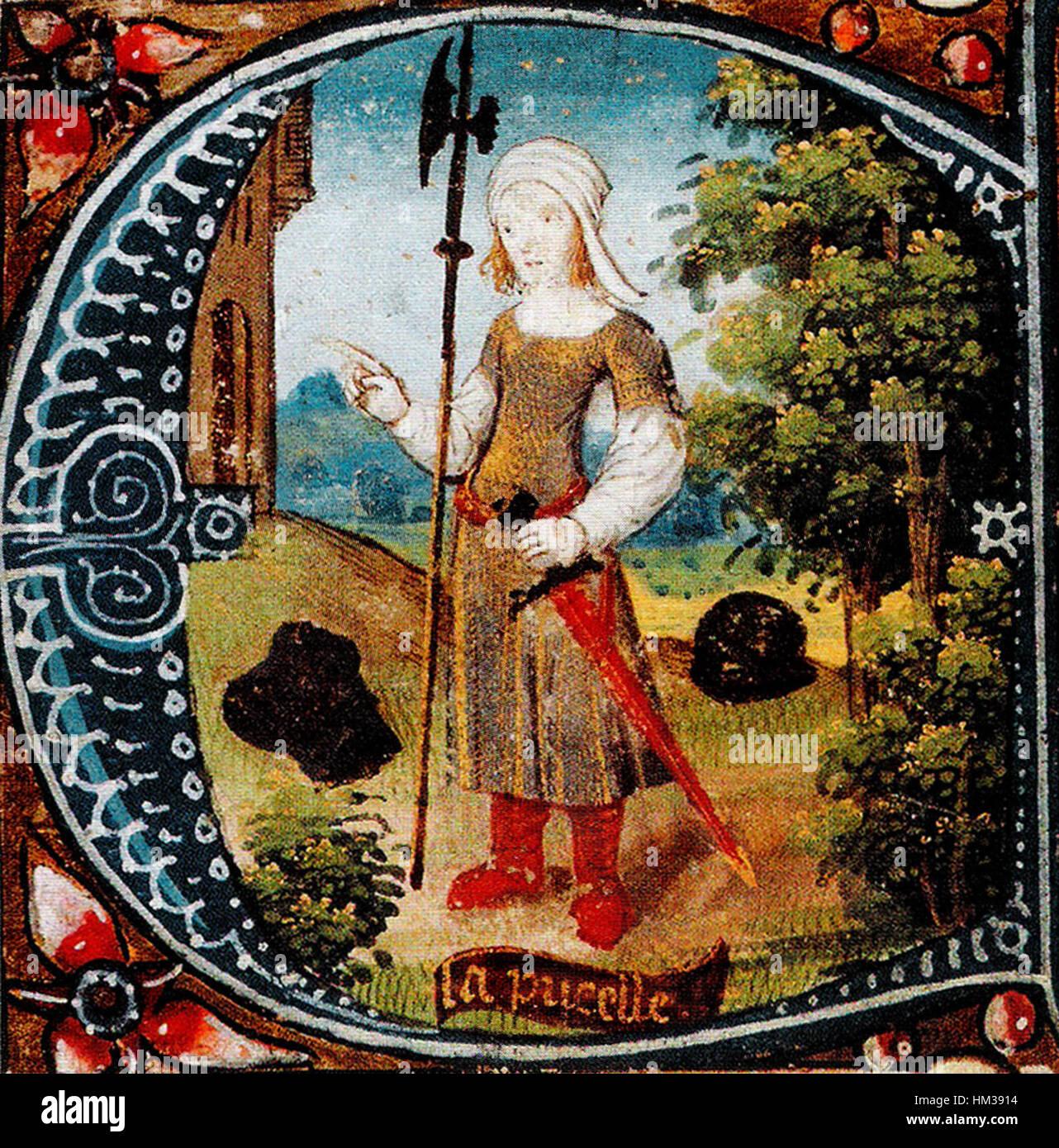 Jeanne d Arc(1412-1431) Miniaturmalerei 15 Halbmonatsschrift Stockbild