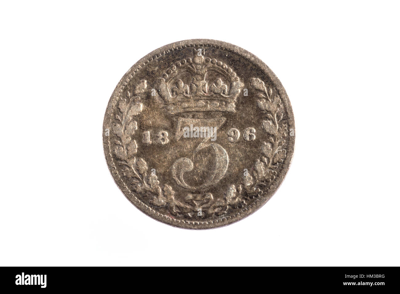 Eine 1898 drei Penny kaiserliche Münze Stockbild