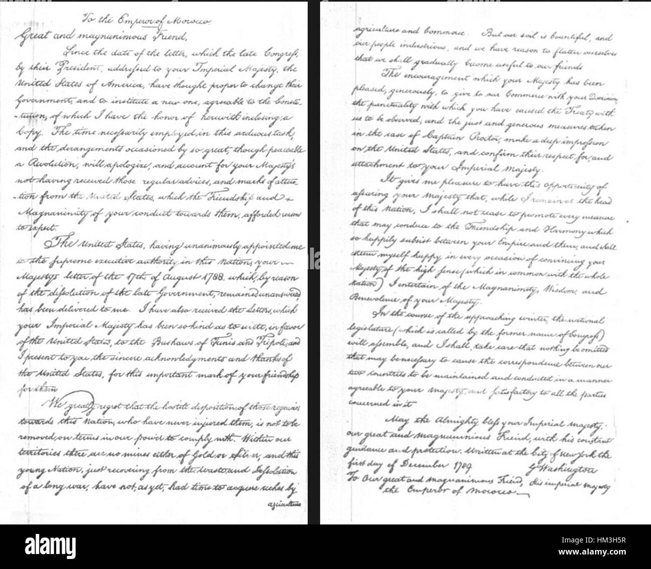 Brief von George Washington an Mohammed Ben Abdallah in Würdigung ...