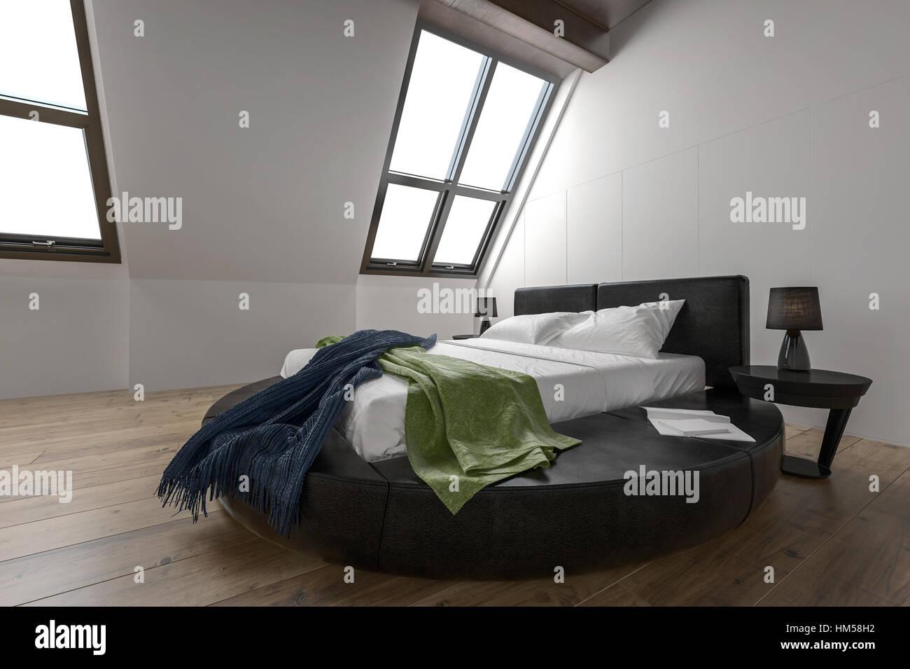Designer moderne Schlafzimmer mit schräge Fenster und ...
