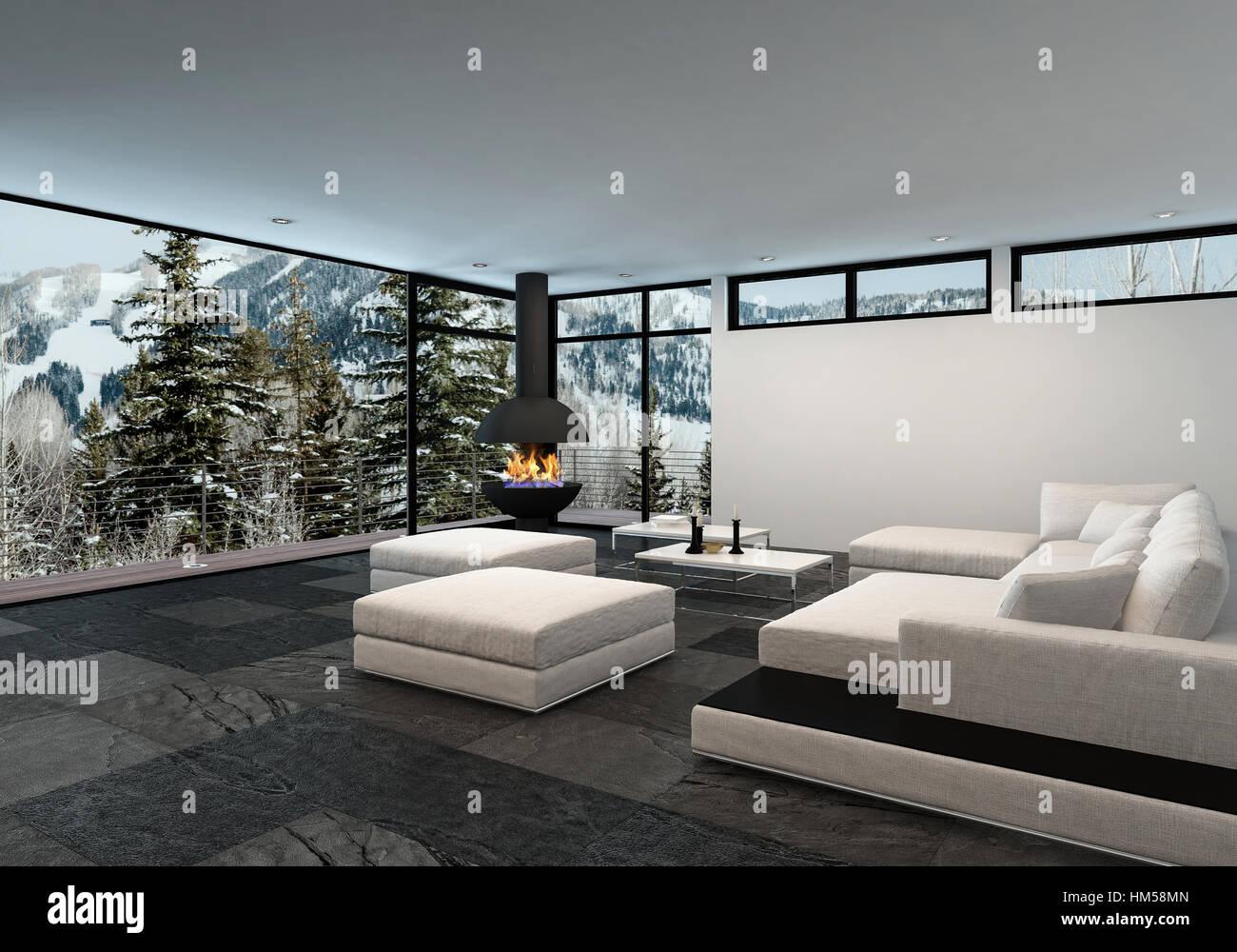 Geräumigen, luxuriösen Wohnzimmer Interieur in eine Berghütte oder ...