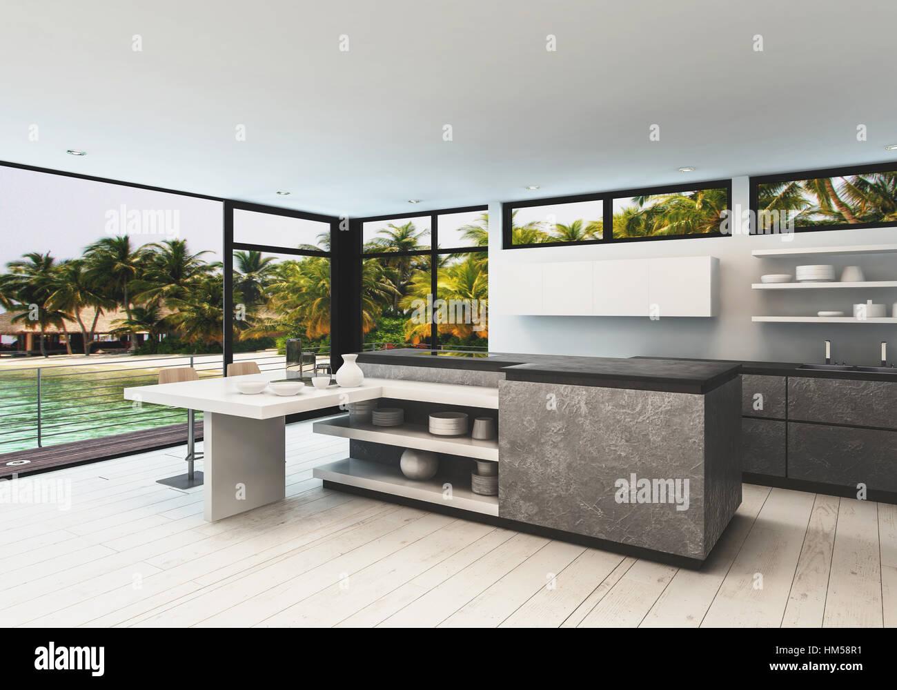 Stilvolle Designer-Küche Interieur mit weißen Parkett und Wrap ...