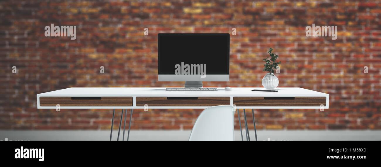Horizontale Nahaufnahme von dünnen Schreibtisch mit Schubladen auf ...